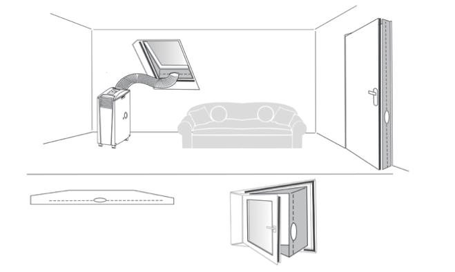schemat montażu rękawa okiennego do klimatyzatora przenośnego