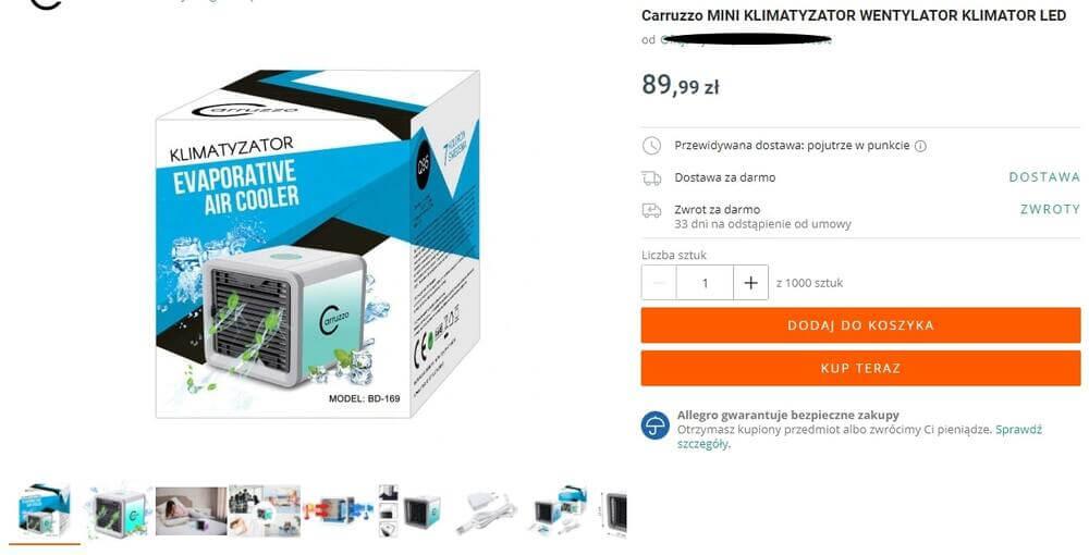 Mini klimatyzator ewaporacyjny, klimatyzer carruzzo